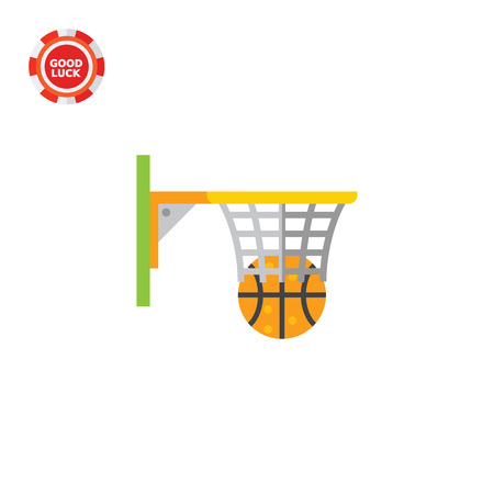 Illustration of basketball hoop and ball. Game, sport, playing, leisure activity. Basketball game concept. Can be used for topics like sport, sport game, leisure activity