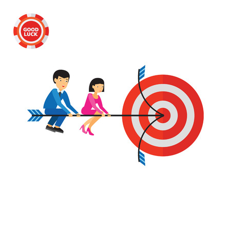 Businessman and businesswoman sitting on arrow and hitting target. Goal, success, strategy. Hitting target concept. Can be used for topics like business, teamwork, planning, management. Illustration