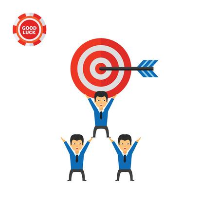 Equipo de negocios con gran objetivo con la flecha. Objetivo, cooperación, estrategia. Concepto de objetivo de equipo. Se puede usar para temas como negocios, trabajo en equipo, planificación, administración.