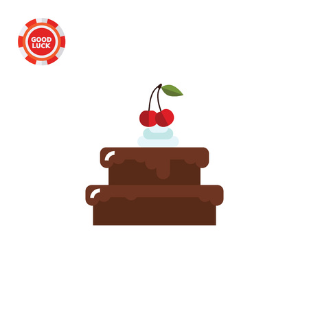 confectionery: Chocolate cake with cherry on top. Sweet, party, delicious. Cake concept. Can be used for topics like cooking, confectionery, food.