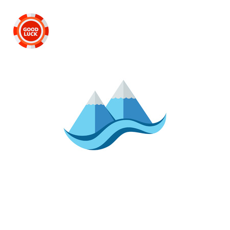 peaks: Stylized cliffs and sea. Peaks, snow, foot. Mountain concept. Can be used for topics like geology, geography, business. Illustration