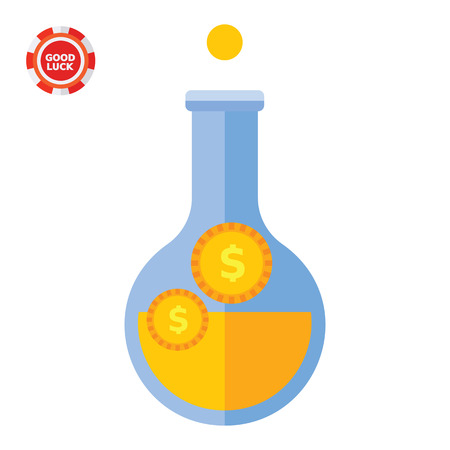 funding of science: Coins in flask. Wealth, analysis, savings. Money concept. Can be used for topics like finance, business, banking.