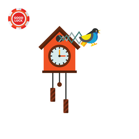 hour hand: Illustration of cuckoo clock. Time, clock, hour hand, minute hand. Time concept. Can be used for topics like time, clock, time measurement Illustration