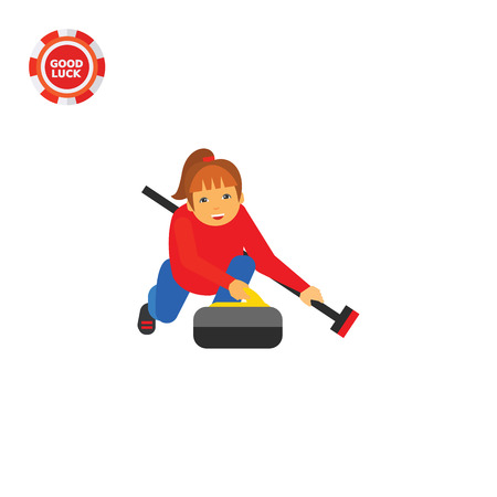 curling: Illustration of female character with curling broom and stone. Curling sport, playing, competition. Curling sport concept. Can be used for topics like curling sport, competition, leisure activity Illustration