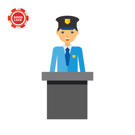 customs: Customs official. Control, check, airport. Airport concept. Can be used for topics like airport, travelling, control, customs Illustration