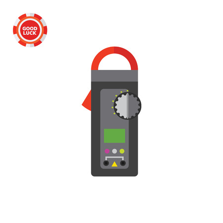Digital clamp meter. Equipment, accuracy, voltage. Measurement concept. Can be used for topics like electricity, electronics, technology.