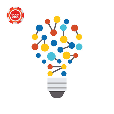 Illustration of bulb as idea of creative technology. New ideas, creativity, innovation. Idea of creative technology concept. Can be used for topics like business idea, creative technology, creativity