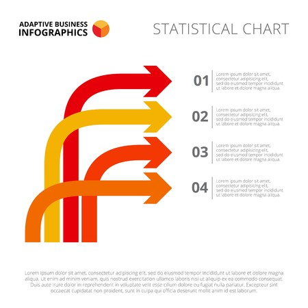 Four arrow diagram. Element of brochure, presentation, chart. Concept for infographics, business templates, reports. Can be used for topics like analysis, statistics, management, business strategy