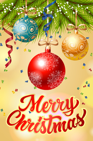Merry Christmas lettering. Merry Christmas inscription with fir branch decorated with three Christmas balls, streamer, confetti. Handwritten text can be used for postcards, festive design, posters