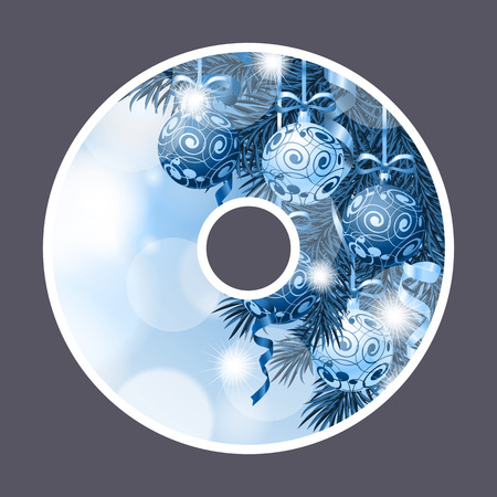Christmas and New Year design template for CD. Illustration in blue colors. Fir branch decorated with Christmas balls. Can be used for postcards, CD labels, festive design