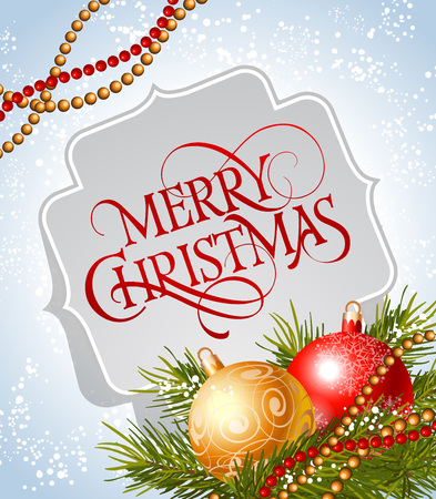sprig: Merry Christmas lettering. Merry Christmas inscription in frame decorated with Christmas balls, fir sprig, strings of beads on snowy background. Calligraphy can be used for postcards, banners, posters Illustration