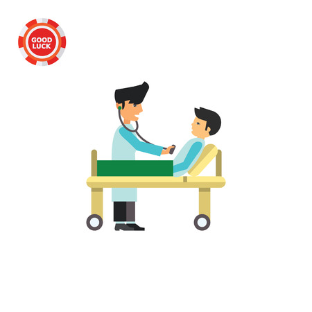 gurney: Doctor checking male patient lying on gurney. Stethoscope, uniform, hospital. Doctor concept. Can be used for topics like medicine, health, healthcare.