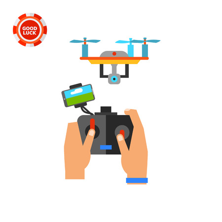 espionage: Human hands holding remote control and flying drone. Surveillance, innovation, mobility. Drone concept. Can be used for topics like technology, aircraft, espionage, electronics.