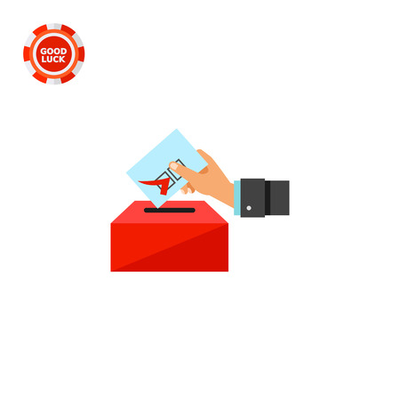 depositing: Hand putting voting paper into ballot box. Choice, government, candidate. Election concept. Can be used for topics like politics, democracy, sociology.