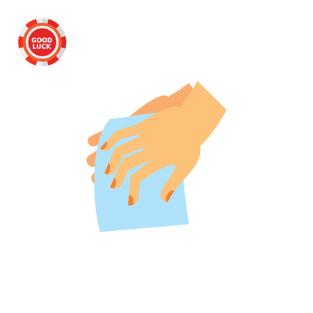 Hands drying with cloth. Clean, wet, habit. Washing hands concept. Can be used for topics like hygiene, health, healthcare.