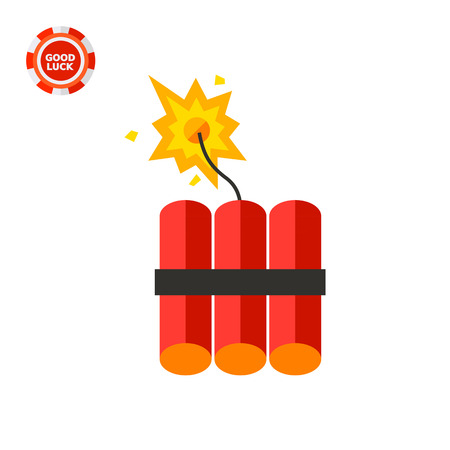 fire wire: Batch of dynamite sticks with burning fuse. Danger, burst, terror. Explosion concept. Can be used for topics like terrorism, weapon, security, violence.