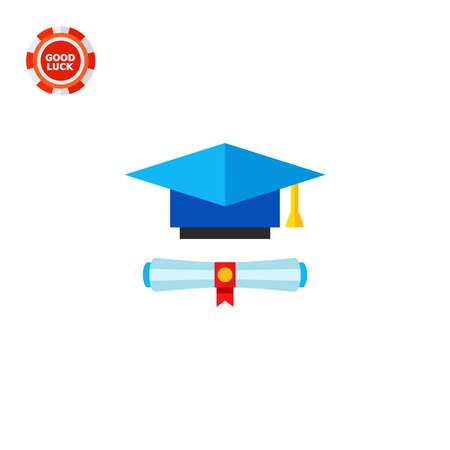 tassel: Diploma scroll and blue graduate hat with yellow tassel. Graduation, knowledge, learning. Education concept. Can be used for topics like study, teaching, education.