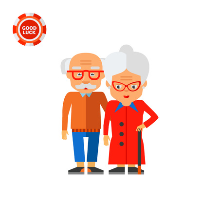 wrinkly: Illustration of elderly couple. Elderly people, age, grandparents. Age concept. Can be used for topics like old people, family, age Illustration