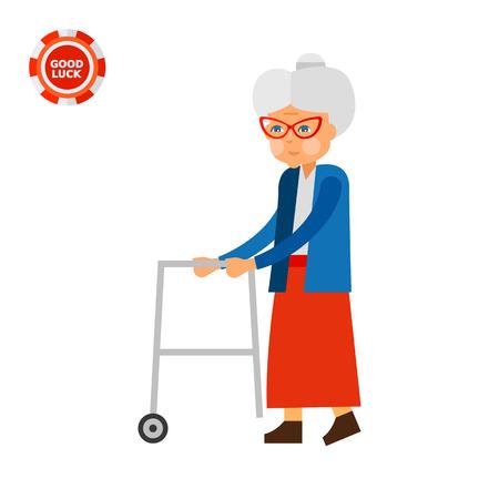 Une femme âgée avec les marcheurs de roulement. Vieillissement, personne âgée, l'âge. Vieillissement concept. Peut être utilisé pour des sujets tels que les personnes âgées, les personnes handicapées, le vieillissement Vecteurs