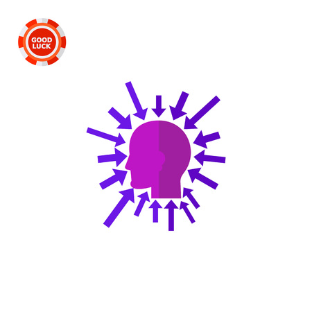 Head silhouette with arrows pointing to it all around. Tasks, creative, leader. Executive manager concept. Can be used for topics like business, teamwork, management. Illustration