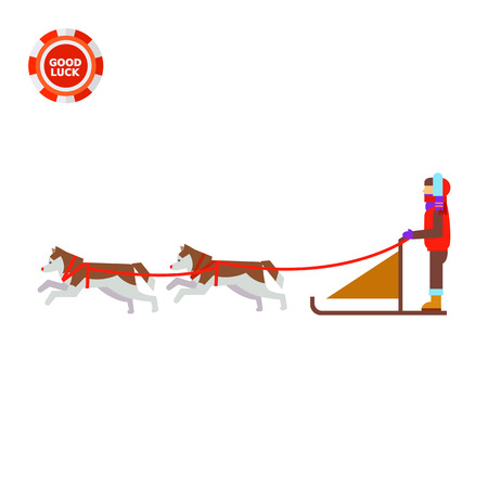snow sled: Dogteam and sled with man ruling it. Snow, cold, transportation. Dogteam concept. Can be used for topics like transport, north, domestic animals. Illustration