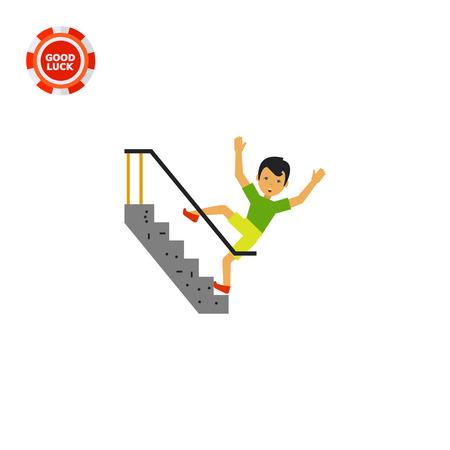 down stairs: Ilustración del hombre asustado caer por las escaleras. Accidentes, lesiones, accidentes. Cayendo concepto escaleras. Puede ser utilizado para temas como accidentes, accidentes, seguridad