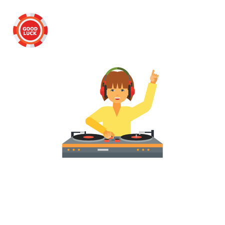 Female DJ wearing headphones and using DJ mixer. Sound, dancing, nightclub. DJ concept. Can be used for topics like music, entertainment, technology. Illustration