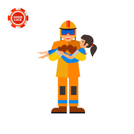 rescuing: Firefighter holding child. Rescue, hero, emergency. Firefighter concept. Can be used for topics like firefighting, marketing, rescue service.