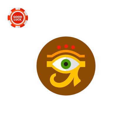 Eye of Ra or Horus with circle in background. Amulet, culture, sacred. Egypt concept. Can be used for topics like Egypt, mythology, history.