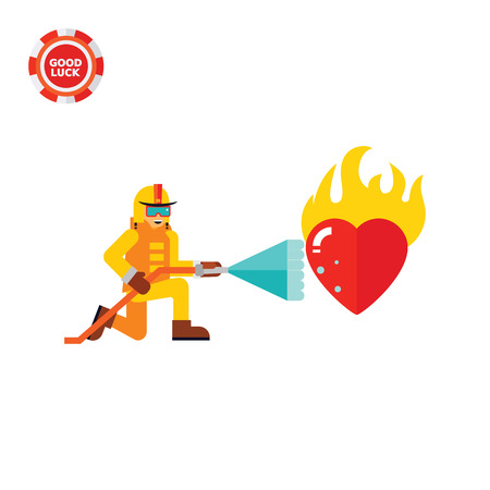 burning heart: Firefighter extinguishing burning heart with stream of water. Saving, addiction, high temperature. Passion concept. Can be used for topics like firefighting, love, romance.