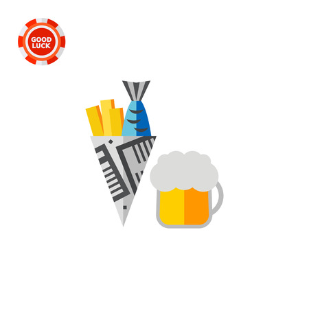 pub food: Beer with fish and chips. Drinking, pub, national. Pub concept. Can be used for topics like England, traditions, food. Illustration
