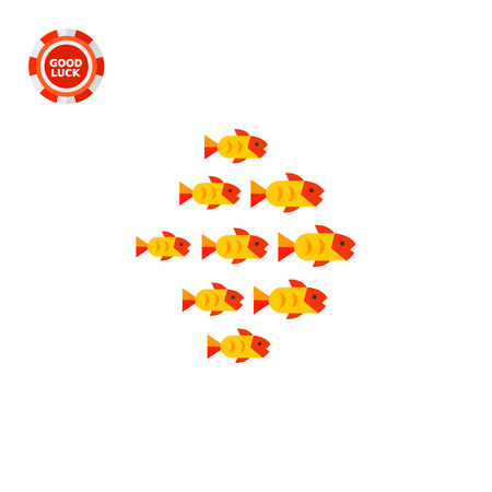 Fish shoal of nine fishes. Swimming, ocean, wildlife. Fish concept. Can be used for topics like fishing, zoology, nature. Illustration