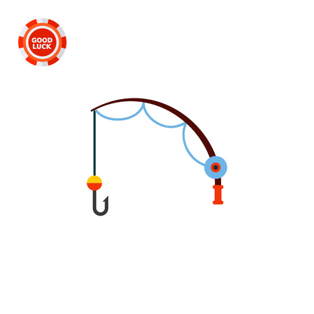 hook like: Fishing rod with reel and hook. Tackle, bait, catch. Fishing concept. Can be used for topics like fishing, food industry, nature.
