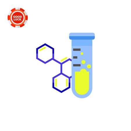 reagent: Flask with substance and molecular structure. Test tube, chemistry, experiment. Science concept. Can be used for topics like chemistry, education, school, science Illustration
