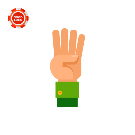 like hand: Illustration of left hand with four fingers pointing up. Hand gesture, number, fingers. Hand gesture concept. Can be used for topics like hand gesture, counting, nonverbal communication