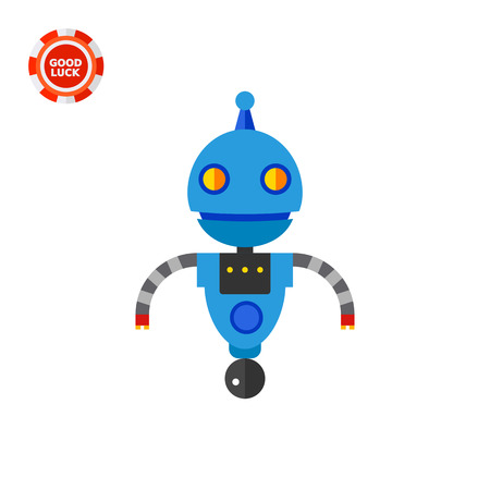 Funny robot on rolling ball. Toy, futuristic, intelligence. Robot concept. Can be used for topics like technology, electronics, mechanics. Illustration