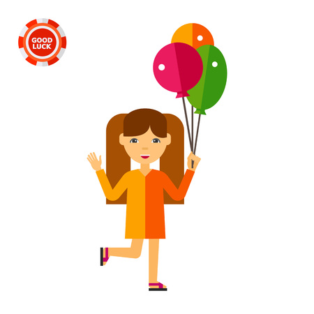 parenting: Girl with three balloons. Walk, fun, summer. Children concept. Can be used for topics like childhood, health, parenting.
