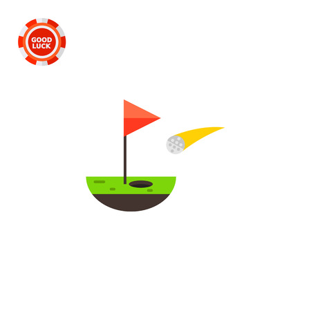 Golf ball falling into hole and flag. Leisure, hit, course. Golf concept. Can be used for topics like golf, sport, games.