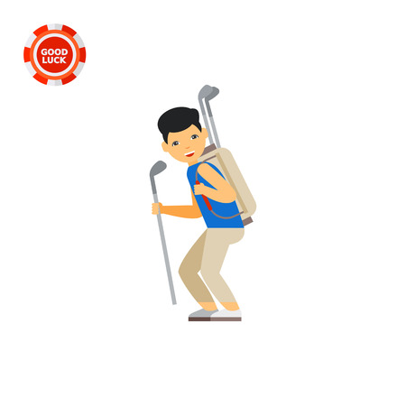caddy: Golf caddy carrying clubs. Equipment, leisure, help. Golf concept. Can be used for topics like golf, sport, games.