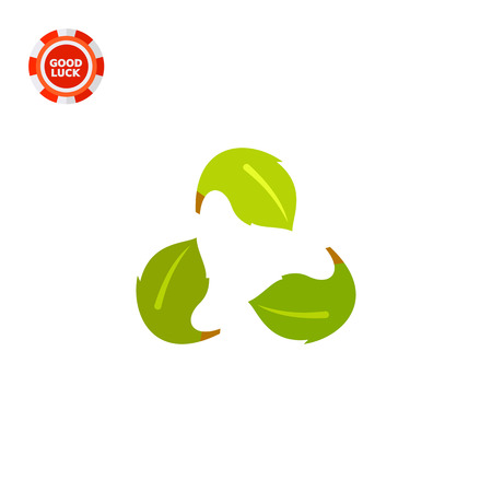 preservation: Leaves in from of recycle sign. Ecology, environment, protection, nature. Ecology concept. Can be used for topics like ecology, environment, nature