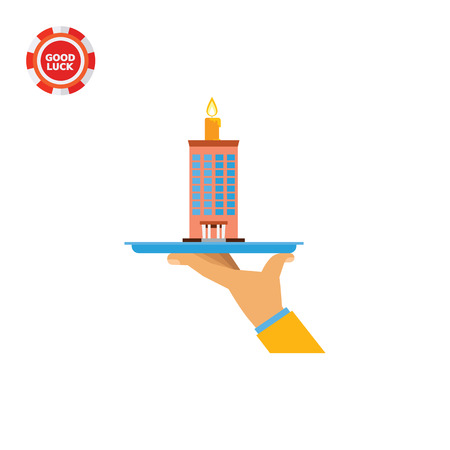 Hand holding company building cake. Company, anniversary, establishing. Company cake concept. Can be used for topics like building, business, finance. Illustration
