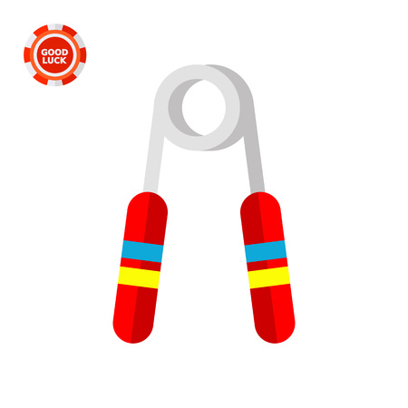 Hand grip exerciser with red handles. Effort, muscles, training. Hand exerciser concept. Can be used for topics like sport, health, bodybuilding.