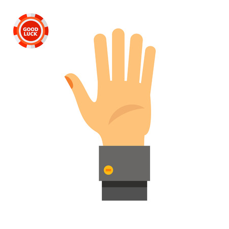 Human palm. Showing, greeting, nonverbal. Gesture concept. Can be used for topics like gestures, nonverbal communication, management. Illustration