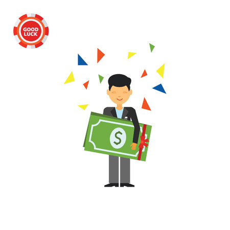 Guy holding big dollar banknotes with hands and confetti. Wealth, luck, win. Money concept. Can be used for topics like finance, business, marketing. Illustration