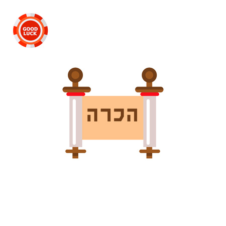 Haggadah roll with characters. Language, ancient, traditional. Judaism concept. Can be used for topics like judaism, religions, history.