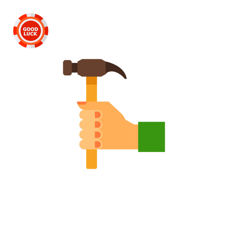 Illustration of right human hand with hummer. Woodwork, fixing, instrument. Hand with hummer concept. Can be used for topics like woodwork, tools, hobby