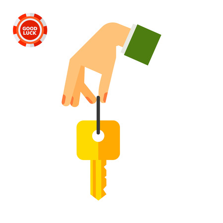 Hand holding key. Clue, opening, nonverbal. Key concept. Can be used for topics like business, nonverbal communication, management. Illustration