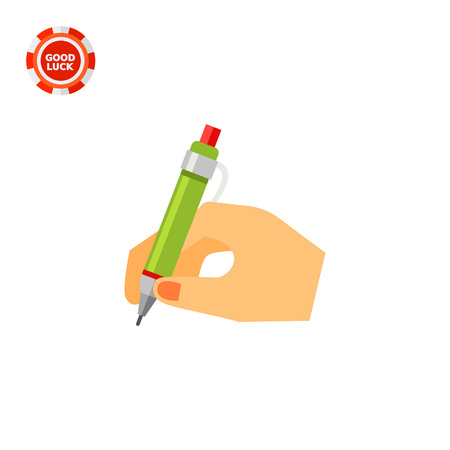 Hand with pen writing. Letter, signature, document. Writing concept. Can be used for topics like business, communication, management. Illustration