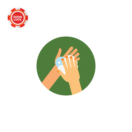 habit: Hands lathering soap. Clean, foam, habit. Washing hands concept. Can be used for topics like hygiene, health, healthcare. Illustration