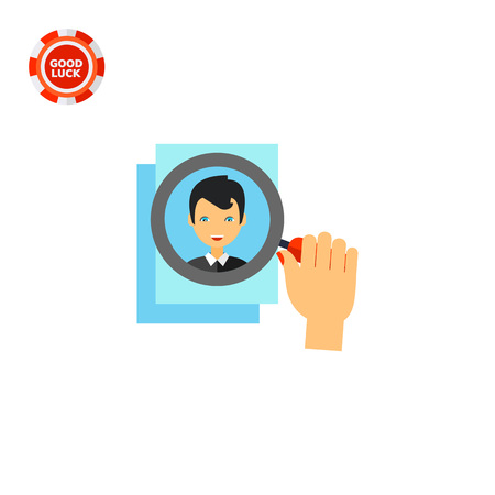 the applicant: Human hand with magnifying glass on photo of applicant. CV, search, stuff. Head hunting concept. Can be used for topics like business, management, recruitment, personnel. Illustration